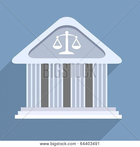 minimalistic illustration of a courthouse temple building, eps10 vector