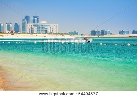 Couple on the jetski ride in Abu Dhabi, UAE