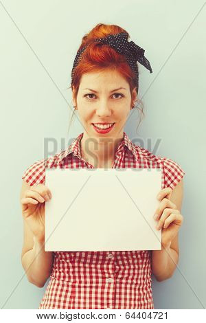 Pin-Up Girl with blank card - Retro
