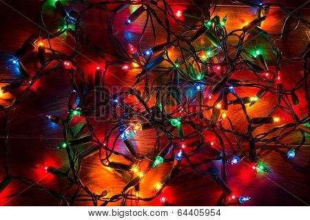 Christmas lights on a floor
