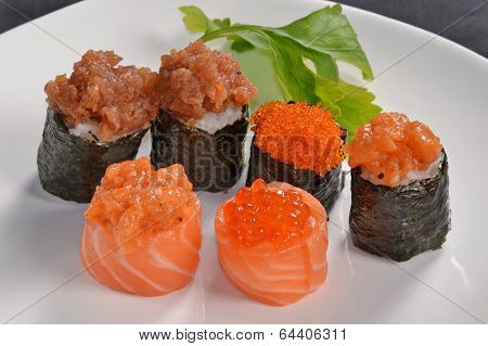 Assorted sushi roll on a dish,Japanese food.