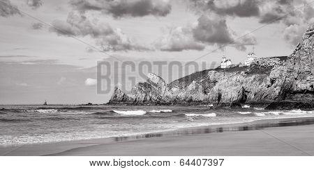 Coastal Seascape In Black And White