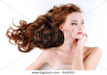 Beautiful Nice Woman With Long Ringlets Hair