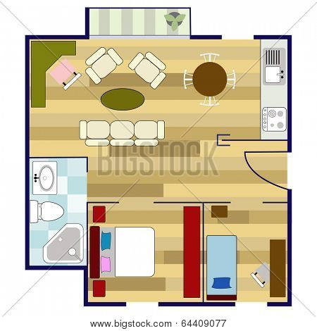 colorful floor plan with furniture
