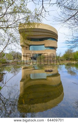WASHINGTON, DC - APRIL 21, 2014: The National Museum of the American Indian. The Museum is dedicated to the life, languages, literature, history, and arts of the Native Americans.