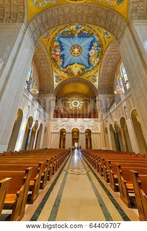 WASHINGTON, DC - APRIL 20, 2014: Interior details of Basilica of the National Shrine of the immaculate Conception. The Basilica is the largest Roman Catholic church in the US and North America.