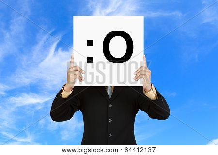 Businessman Hold Board With Gasp Face Emoticon