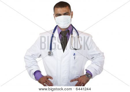Portrait Of Self Confident Medical Doctor With Mask