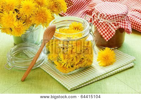Jar Of Dandelion, Blowball Jam And Flowers