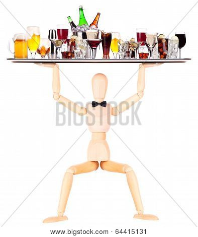 wooden Dummy waiter with tray full of drinks