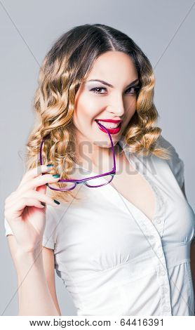 Smiling Cheerful Business Woman Holds Glasses In Hand