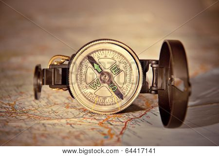 compass on modern map