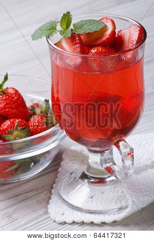 Delicious Strawberry Fragrant Drink On The Table