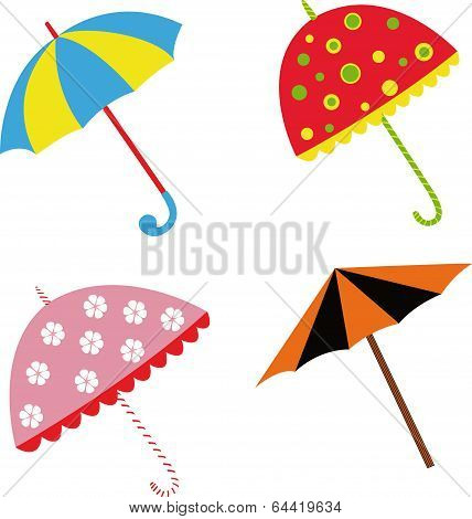 Colorful Illustration With Umbrellas