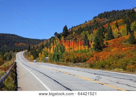 Scenic drive in Colorado in autumn time