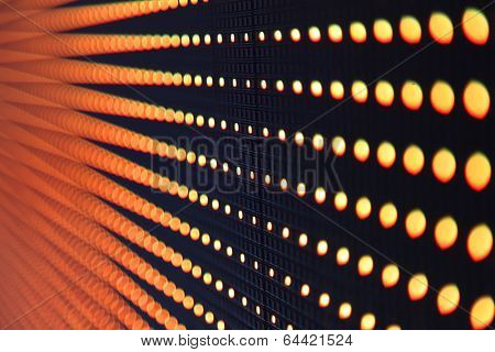 Perspective view of row of LED lights on the wall