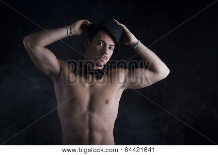 Shirtless Young Latino Man With Black Fedora Hat