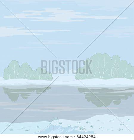 Winter landscape. Forest river