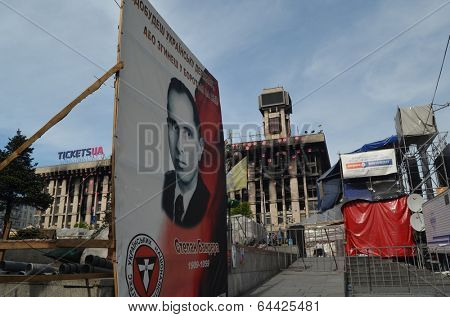 KIEV, UKRAINE - APR 28, 2014:Stephan Bandera poster (Ukrainian nationalist icon ) Kiev under occupation of peasants from Western Ukraine..April 28, 2014 Kiev, Ukraine