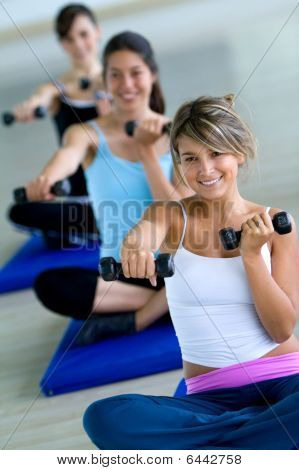 Aerobics Class With Free Weights