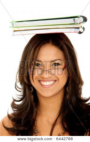 Student With Notebooks On Her Head
