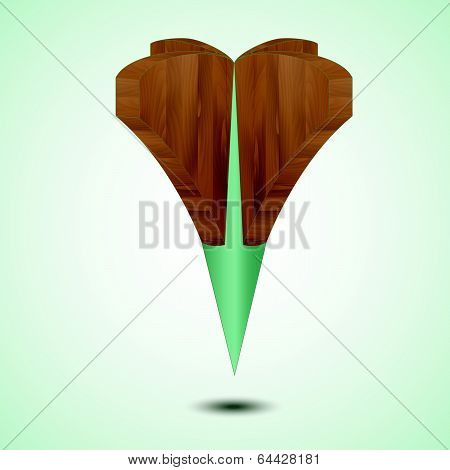 wooden green Map Pointer Icon Isolated