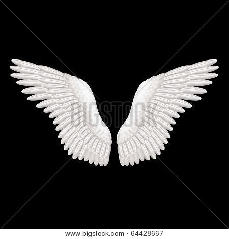White Wings On Black Vector Illustration