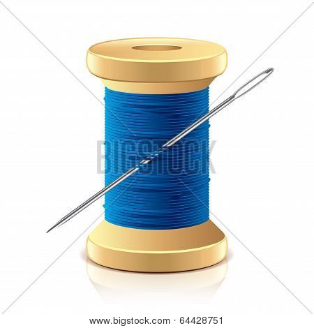 Needle And Thread Spool Vector Illustration