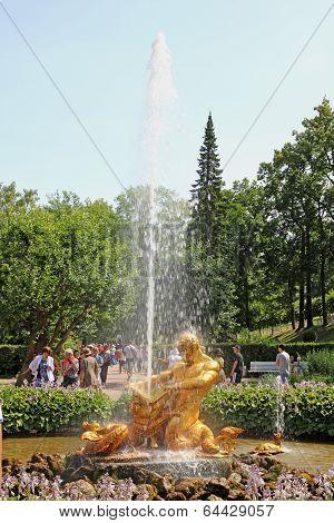 Triton Fountain In St. Petersburg, Russia