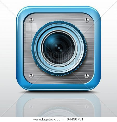 Icon Camera, Metal Structure, Green Case. Vector