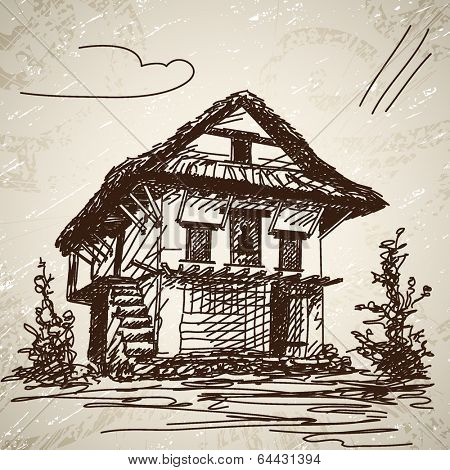 Nepali traditional house. Hand drawn illustration