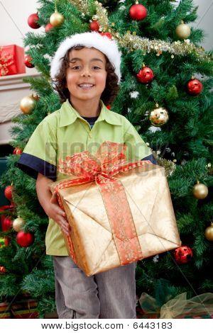 Junge mit Weihnachtsgeschenk