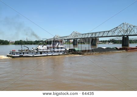 Coal Barge On Ohio River
