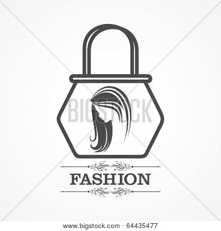 Beauty and fashion icon with handbag stock vector