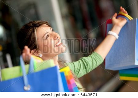 Happy Shopping Woman
