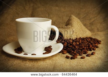 Coffee Mug And Coffee Beans