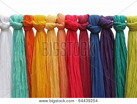 Hanging Colorful Silk Fabrics