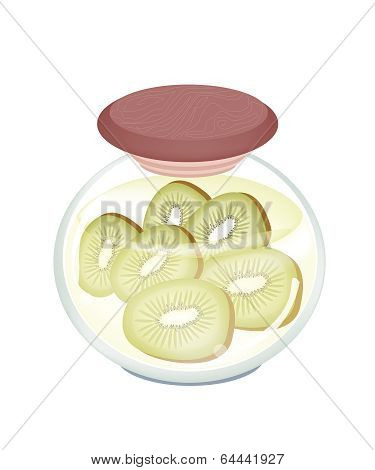 A Jar Of Delicious Preserved Fresh Kiwi