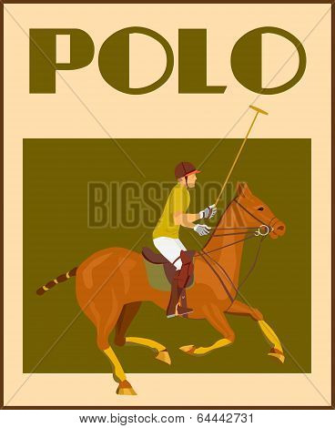 Polo player on horse poster