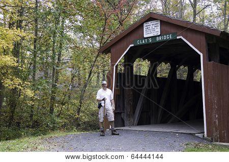 Hiker at Clay's Bridge