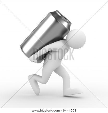 Los hombres llevan puede en parte posterior. Aislado de la imagen 3D