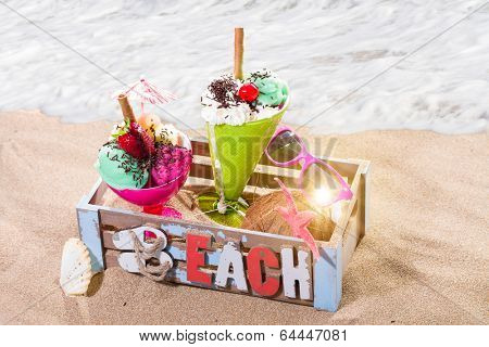 Gourmet tropical icecream dessert served alongside a sunny summer beach in an elegant dish