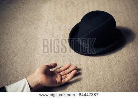 Dead Man And Hat On Floor