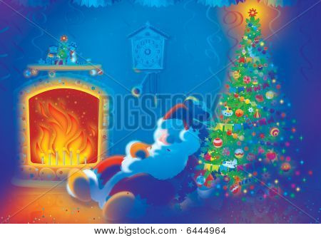 Papai Noel dorme pelo fogo