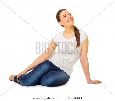 Happy smiling young girl isolated