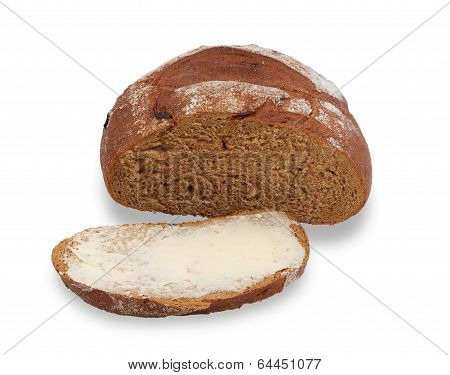 Incised And Loaf Of Bread Buttered Isolated