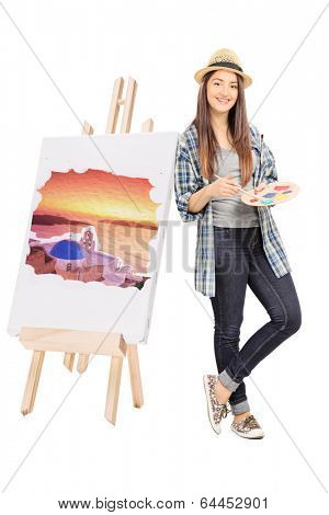 Female artist leaning on an easel with painting isolated on white background