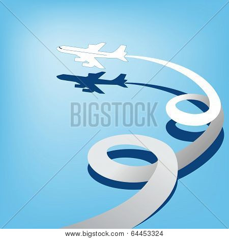 The vector image of the plane in the  blue sky