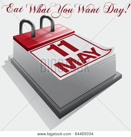 11 May. Eat What You Want Day. Vector
