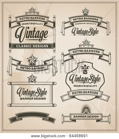 Calligraphic design elements. Vintage banner and ribbon vector set